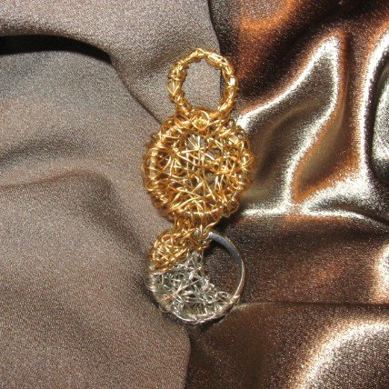 """""""DOUBLED UP"""" Gold and silver colored wire pendant,Artisan made"""