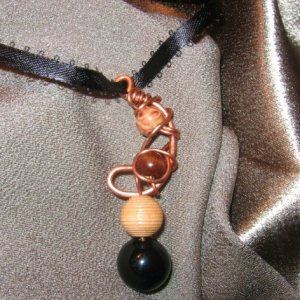 """WARM IN BLACK""  Copper wire brown,black beaded, ribbon necklace,Handcrafted"
