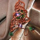 """FUNKADELIC"" Copper wire,Glass stone/cabachon,green,purple,hematite beaded Pendant,Handmade"