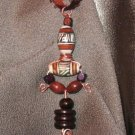 """ I AM"" Wooden & White,brown,black clay beads, Copper wire & ribbon necklace, Handmade"