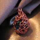 """""""BLUE SPICE"""" Glass cabachon/stone,Copper wire Pendant, Handmade"""
