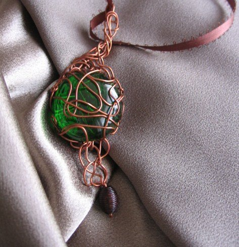 """""""GREEN EYED""""  Glass cabochon, wooden brown bead, ribbon Copper wire Necklace, Handcrafted jewelry"""