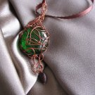 """GREEN EYED""  Glass cabochon, wooden brown bead, ribbon Copper wire Necklace, Handcrafted jewelry"