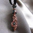 """RANDOM ELEGANCE"" Genuine Hematite beads, Copper wire, black ribbon necklace,Handcrafted jewelry"