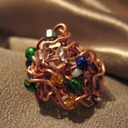 """DRAMA QUEEN"" Glass seed beads, hematite,Copper wire ring, Handmade Jewelry"