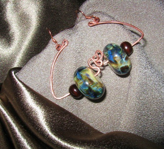 """BLOSSOMS IN BLUE"" Borosilicate glass & brown wooden beads,Copper earrings,Handcrafted Jewelry"
