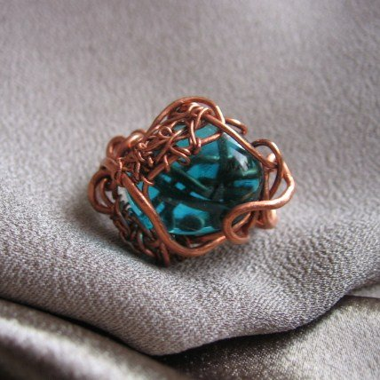 """""""BOTTOM OF THE OCEAN""""  Blue glass cabochon copper wire ring,Handmade Jewelry"""