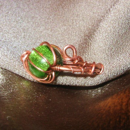 """CAGED BEAUTY"" Copper wire ring,green glass bead, Handcrafted Jewelry"