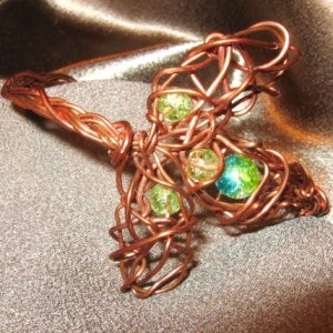 """HE LOVES ME/HE LOVES ME NOT"" Copper cuff bracelet,glass blue,green,yellow beads,Handmade Jewelry"