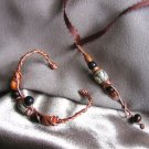 """DEEPLY ROOTED"" Wooden brown/black & painted clay beads,Copper wire, Necklace & Bracelet.Handmade"