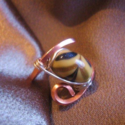 """CREAM""  Copper & Sterling Sliver wire ring,black,gold,cream bead,Handmade Jewelry"