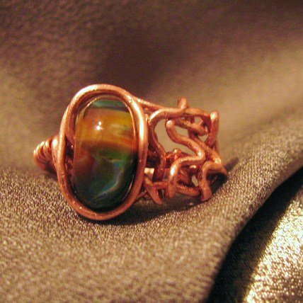 """MOTION""  Borosilicate (boro) Glass bead,Copper wire ring, Handcrafted Jewelry"