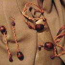 """CAPTIVATE"" Copper wire, brown wooden,purple glass beads,necklace,bracelet & earrings set,Handmade"