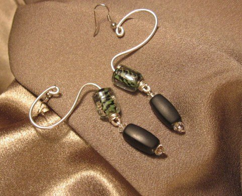 """SPRUNG""  Green/black glass beads,Sterling silver filled wire Earrings,Handcrafted Jewelry"