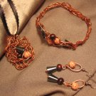 """MAGNETISM""  Copper wire, Hematite & brown wooden beads,Necklace, Bracelet & Earrings, Handmade"