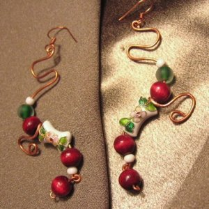 """""""CRANBERRY COCKTAIL"""" Wood,Cloissone, green glass,white beads, Copper Earrings, Handcrafted Jewelry"""