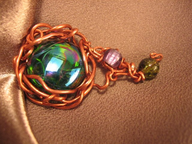 """SOLAR SYSTEM""  Glass green/blue cabochon, purple,green beads, Copper pendant, Handcrafted jewelry"