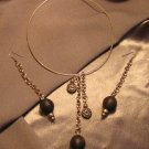 """THE EXCLUSIVE""  Brown wooden beads, Gold tone Necklace & Earrings set, Artisan Handcrafted"