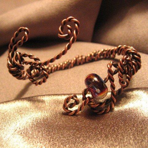 """ANTIQUE""  Oxidized Copper wire, Borosilicate (boro) Glass bead, Bracelet,Handcrafted Jewelry"
