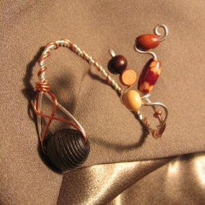 """O.A.K.""  Brown Wooden beads, Silver filled & Copper wire Bracelet, Handcrafted Jewelry"