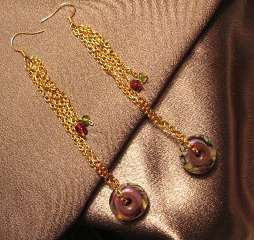 """PLAY""  Borosilicate(boro) beads, Garnet & Peridot ,Gold colored Earrings Handcrafted jewelry"