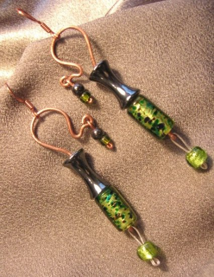 """FRESH"" Copper wire, Hematite & glass beads, Earrings,Handcrafted Jewelry"