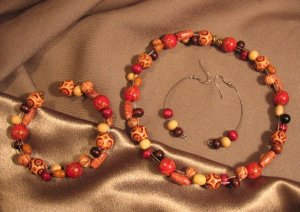 """VACATION"" Multi-colored Wooden beads,Choker, Bracelet, earrings set. Handcrafted Jewelry"