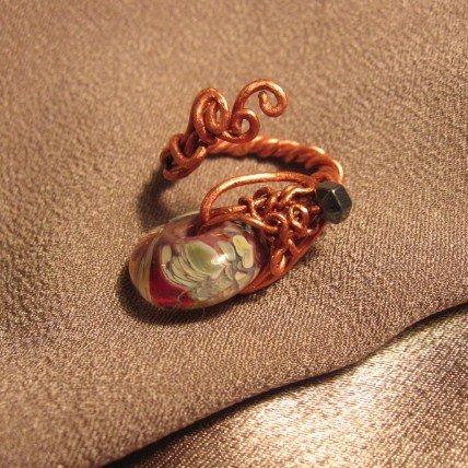 """BAIT"" Borosilicate (boro) Glass & Hematite beads, Copper ring, Handcrafted Jewelry"