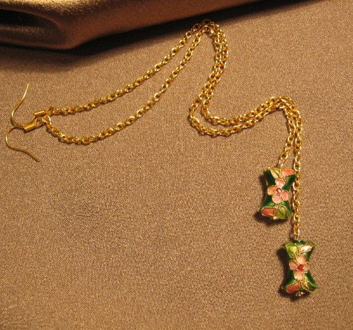 """TICKLE""  Green cloisonne beaded, gold colored chain, Earrings, Handcrafted Jewelry"