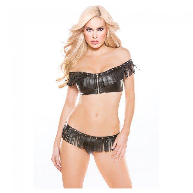 Faux leather off shoulder top & G-string 2 pc set 12-4005
