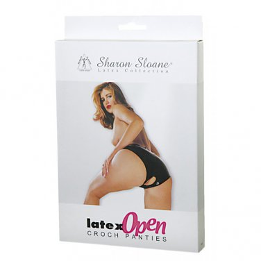Sharon Sloane - Latex Open Crotch Panties Black ~ Large 9514L-BX