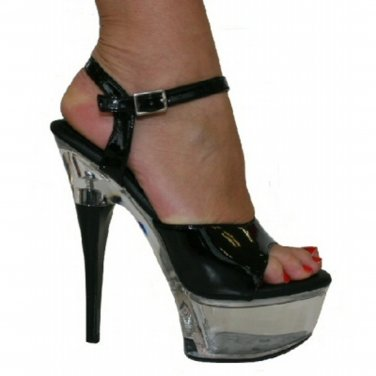 SH-ANNB Clear Platform Black Patent Sandals