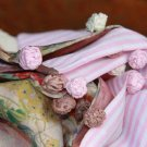 BENANDLU handmade - Tippet or scarf. Preppy style. Silk, cotton, roses, pink rim