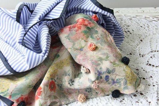 BENANDLU handmade - Tippet or scarf. Roses-stripes. Gucci cotton-silk Gucci
