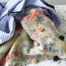 BENANDLU handmade - Tippet or scarf. Roses-stripes. Gucci cotton-silk Gucci