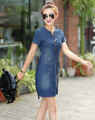 2016 new arrival summer women denim dresses short sleeves loose A word dres