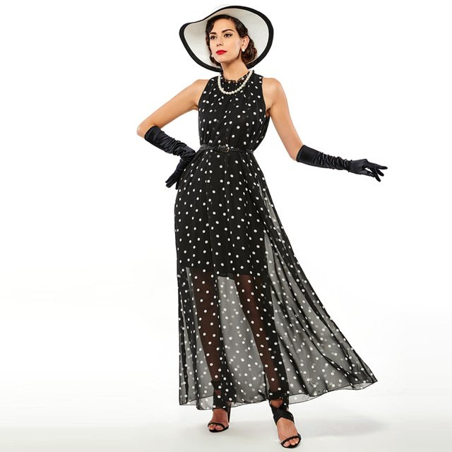 Sisjuly women maxi fashion polka dots maxi dress