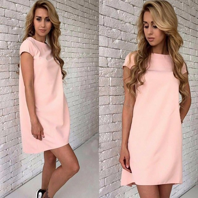 Summer Dress 2017 Fashion Women Short Sleeve Dress Sexy Loose Casual Elegan