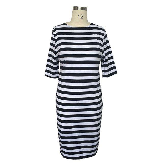 fashionable Striped Autumn women dresses big sizes NEW 2017 plus size women