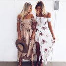 Boho style long dress women Off shoulder beach summer dresses Floral print