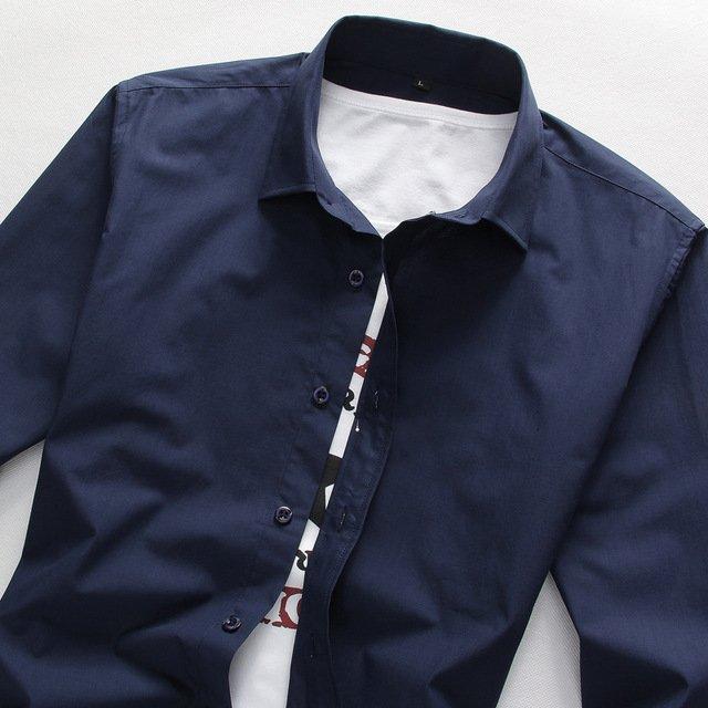 2017 Men Shirt Long Sleeve Slim Fit Solid Mens Dress Shirts Formal Shirts