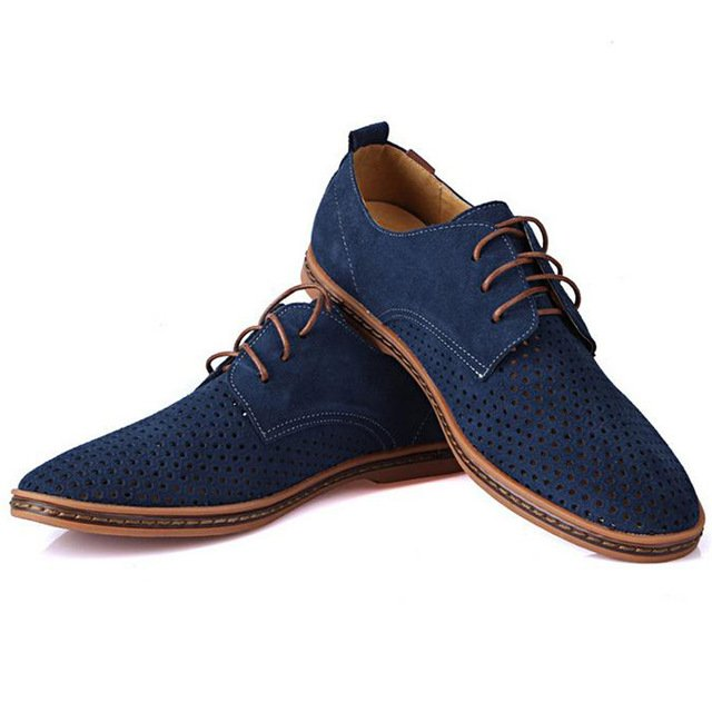 Tangnest   Men Oxfords Shoes 2017 Summer Breathable Suede&PU Leather
