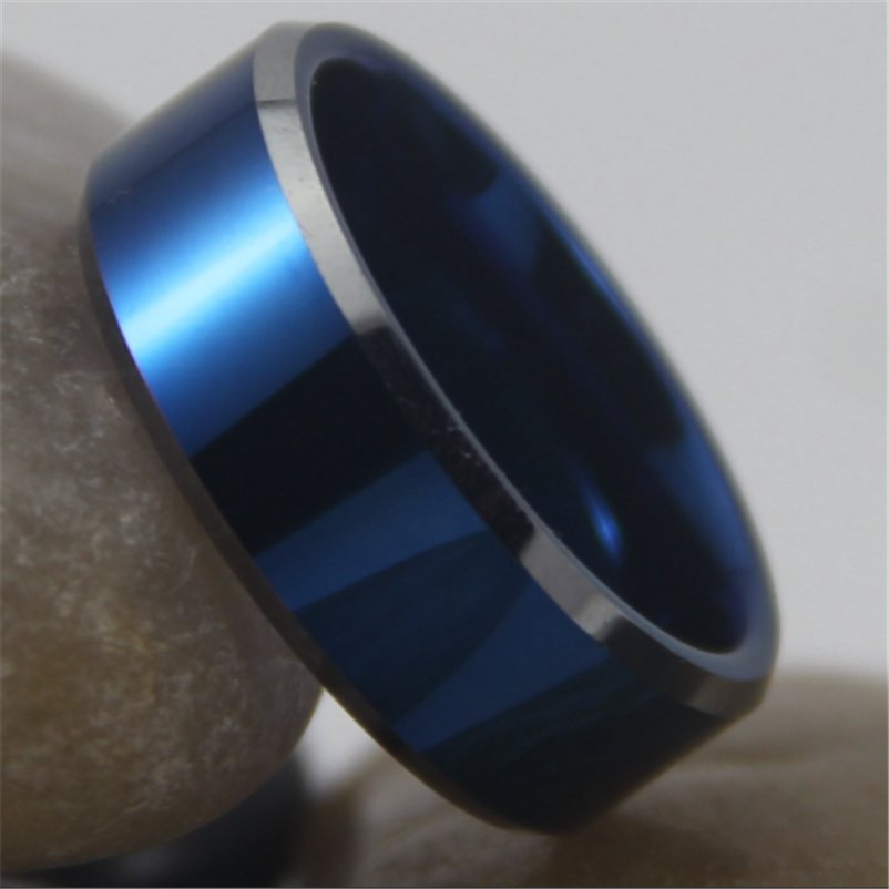 Free Shipping Hot Sales 8MM Width Blue Color With Shiny Bevel Custom Ringv