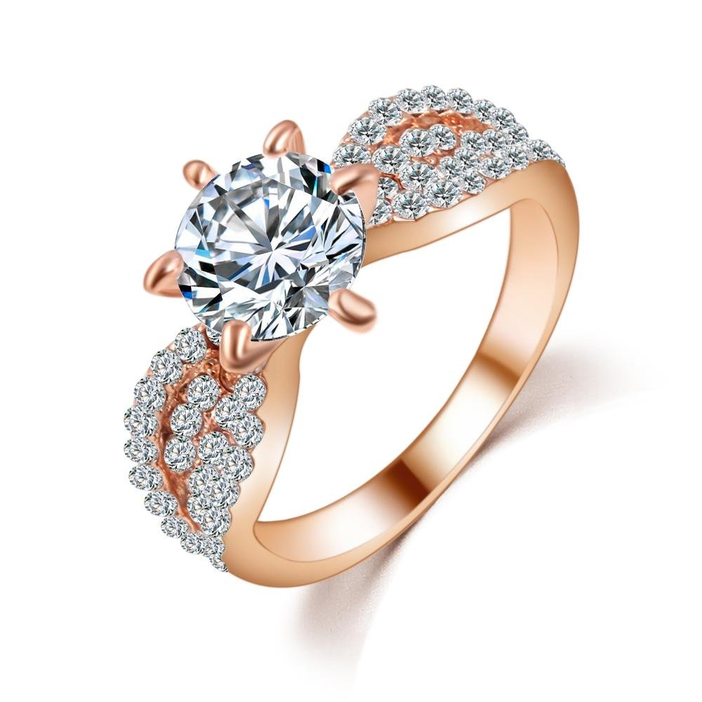 17KM Romantic Wedding Crystal Rings Rose Gold