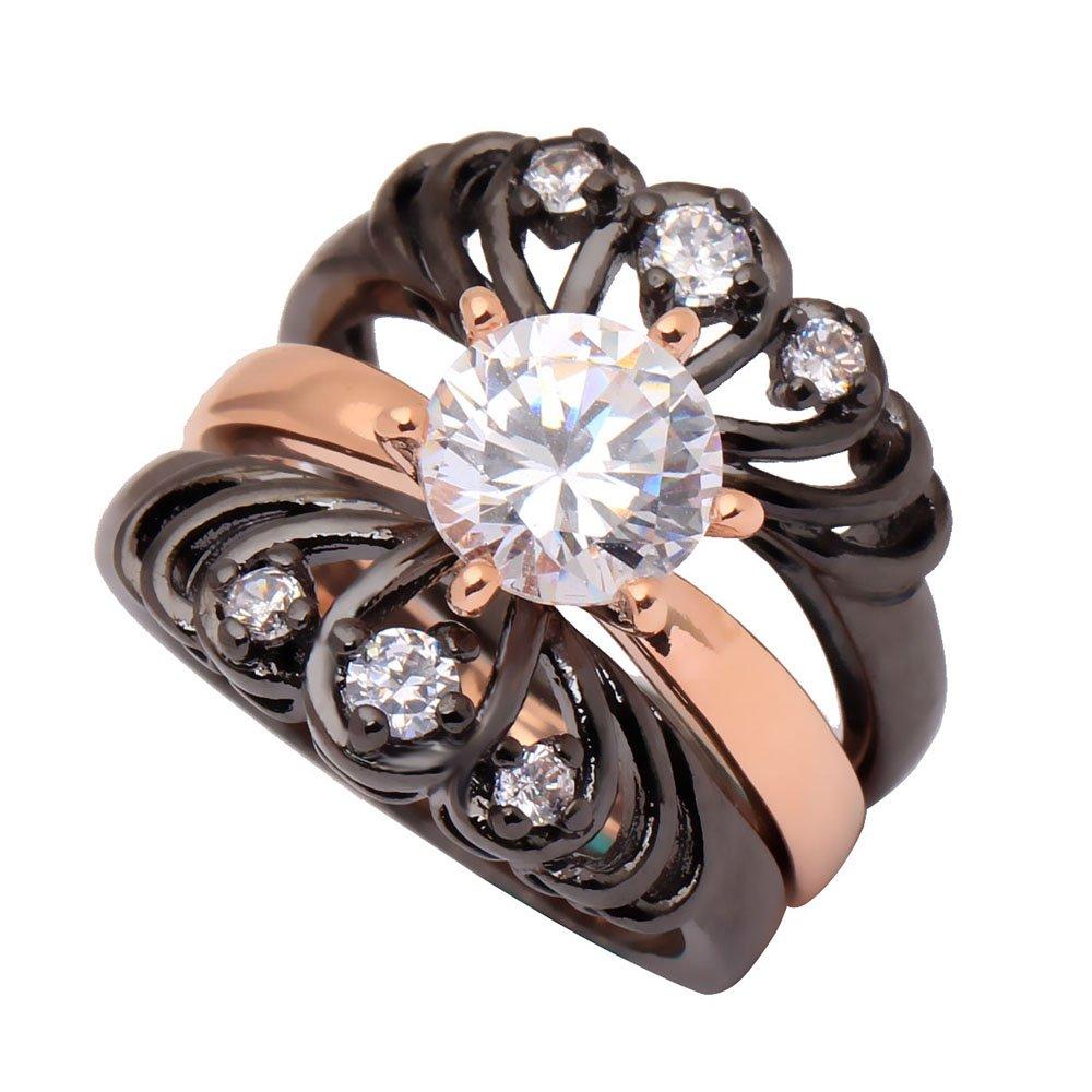 Wedding Ring Set 3 Chrysanthemum Flower Rings Rose Gold