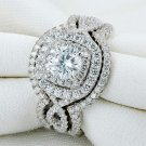 Silver Wedding Ring Bridal Sets Engagement Band Classic Jewelry