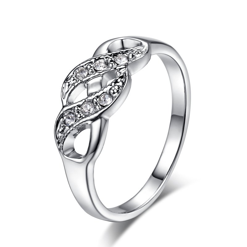 Wave Shape Silver Color Wedding Ring