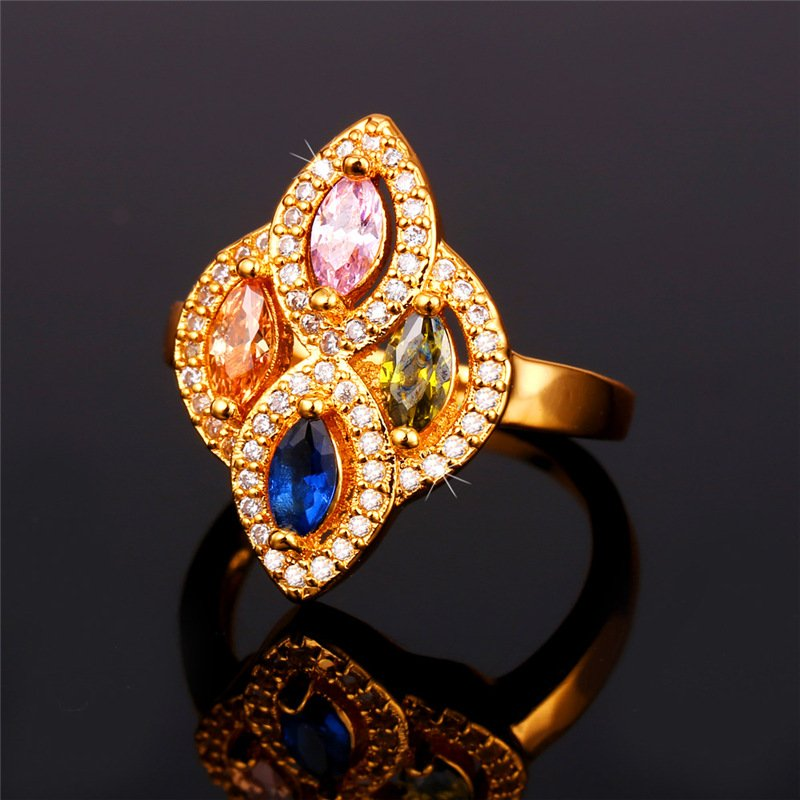 Women Trendy Gold Color Cubic Zirconia Statement Wedding
