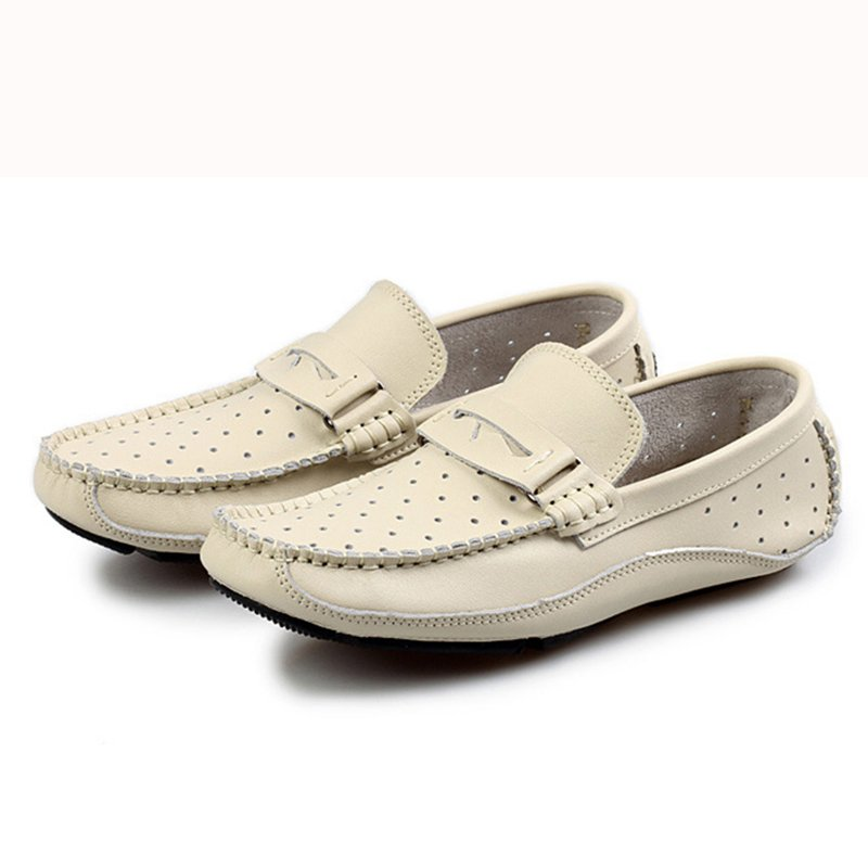 Summer Breathable Men Loafers Handmade Moccasins Genuine