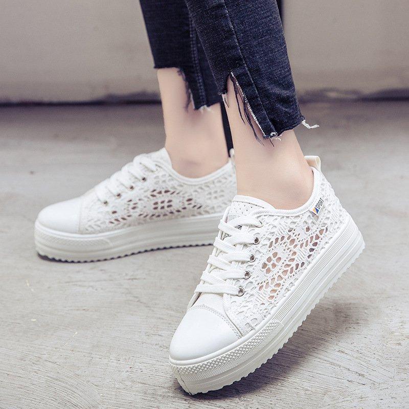 2017 Women canvas lace shoes casual Flats Shoes